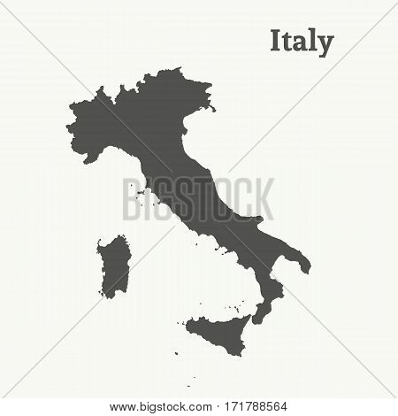 Outline map of Italy. Isolated vector illustration.