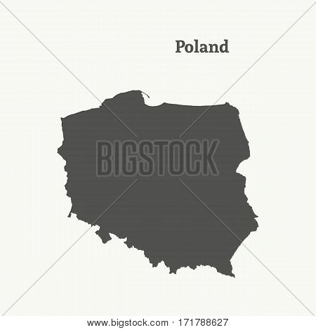 Outline map of Poland. Isolated vector illustration.