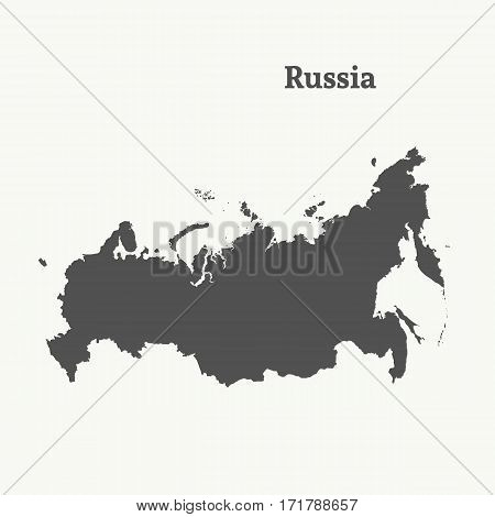 Outline map of Russia. Isolated vector illustration.