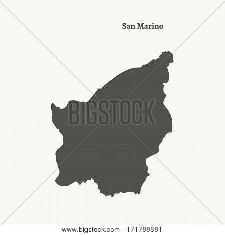 Outline map of San Marino. Isolated vector illustration.