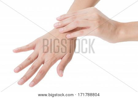 woman holding her beautiful healthy wrist in back side and massaging in pain area Isolated on white background.