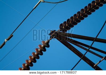 Close-up Of A High Voltage Electricity Pylon Wires