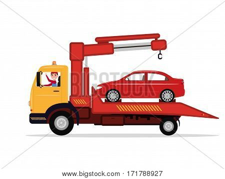 Vector illustration cartoon man in a tow truck driven emergency vehicle. Isolated white background. Concept of service of evacuation. Car evacuator. Vehicle towing. Flat style. Car being towed.