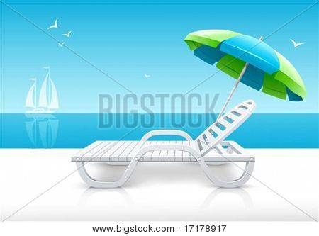 beach chaise longue with umbrella on sea coast vector illustration