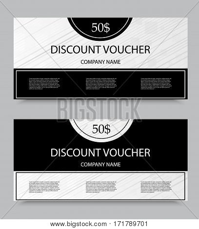 Gift discount voucher template on fifty dollars with diagonal stripes pattern in black and gray colors. Vector illustration