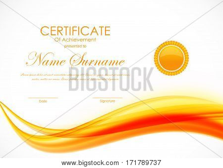 Certificate of achievement template with orange curved dynamic soft wavy background and seal. Vector illustration