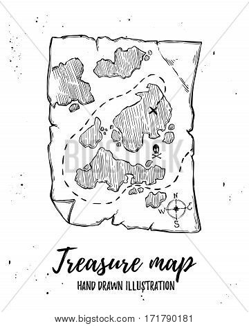 Hand drawn vector illustration - Treasure map. Design elements in sketch style. Perfect for brochures flyers posters cards prints
