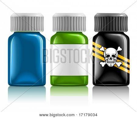 drei medizinische Flaschen mit Medikamenten und Gift Vektor-Illustration, isolated on white background