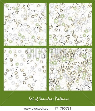 Set of seamless patterns. Spirals and circles color spring design. Bright abstract decorative backgrounds. Vector illustration.