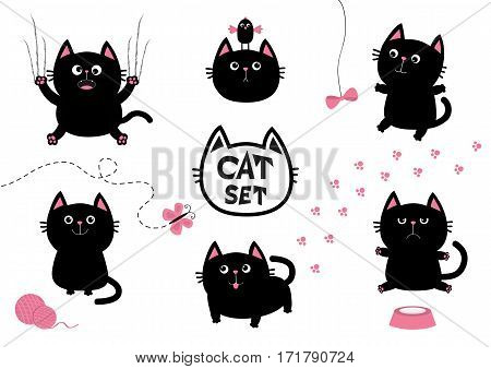 Black fat cat set. Bird butterfly bow pawprint clew ball paw print. Nail claw scratch sitting smiling. Cute cartoon character head. Baby pet collection. White background Isolated. Flat Vector