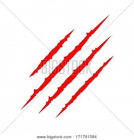Red bloody claws animal scratch scrape track. Cat paw print. Four nails trace. Funny design element. Flat. Isolated. White background. Vector illustration
