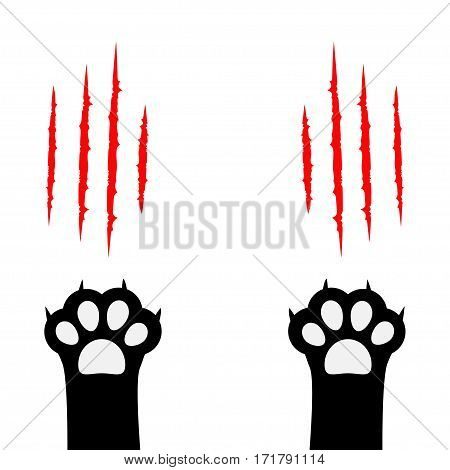 Black cat scratching paw print leg foot set. Bloody claws animal red scratch scrape track. Cute cartoon character body part silhouette. Baby pet collection. Flat Isolated. White background. Vector