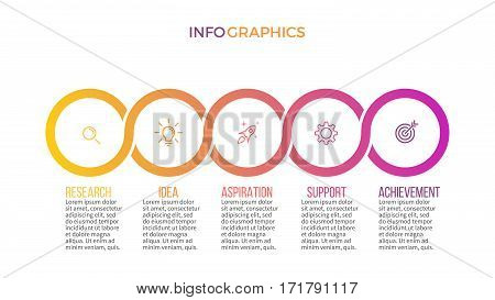 Business infographics. Presentation slide, chart diagram with 5 steps