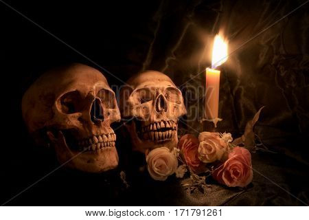 Two Human Skulls And Dry Flowers In Dim Valentines Night On Old Wooden Table / Still Life Image