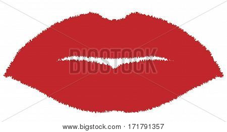 A red lipstick lips kiss over a white background