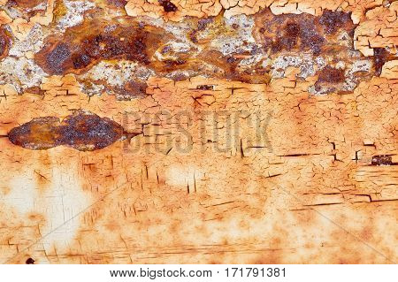 dirty shabby paint, rusted metal, old iron wall