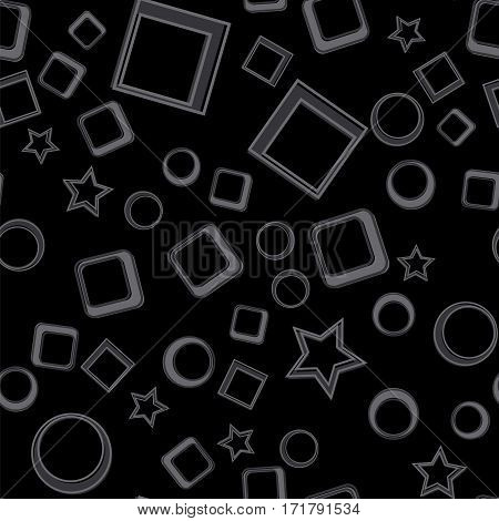 Stars, circles and squares seamless pattern. Dark vector illustration. Geometric forms abstract background.
