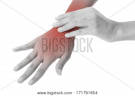 woman holding her beautiful healthy wrist in back side and massaging in pain areablack and white color with red highlighted Isolated on white background.
