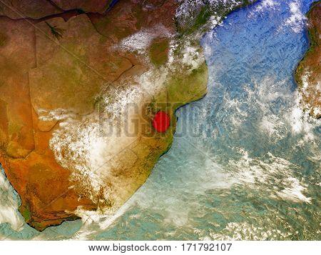 Swaziland On Illustrated Globe