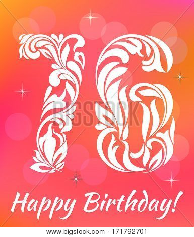 Bright Greeting card Template. Celebrating 76years birthday. Decorative Font with swirls and floral elements.