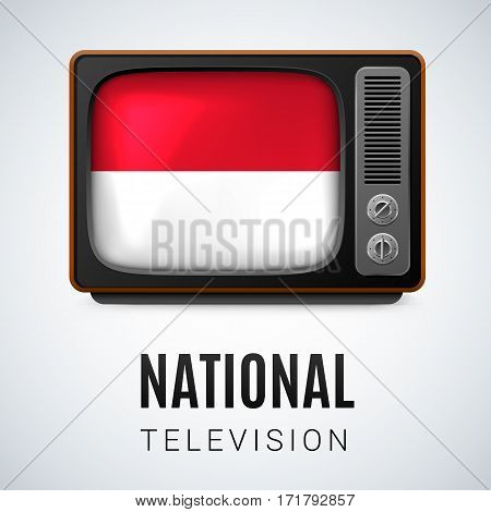 Vintage TV and Flag of Monaco as Symbol National Television. Tele Receiver with Monacan flag