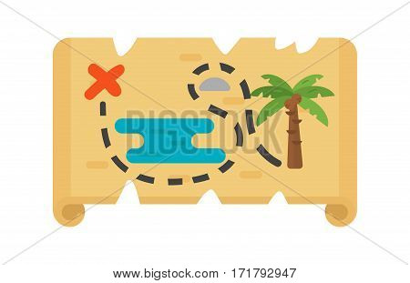 Vector wavy road with map flat illustration. Abstract journey design distance transport sign. City cartography travel direction paper street navigation symbol.