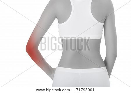 woman posing perfect healthy body shape standing back side with pain area in her elbow black and white color with red highlighted Isolated on white background.