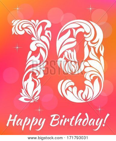 Bright Greeting card Template. Celebrating 79 years birthday. Decorative Font with swirls and floral elements.