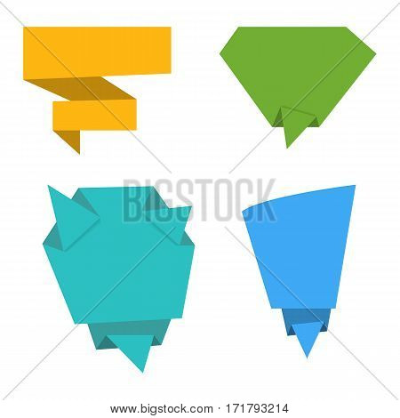 Vector set of flat origami paper banners. Speech bubbles from paper. Flat design