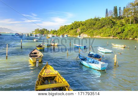 Vila Velha , Brazil - December 30Th , 2016 ; ;fishing  Boats On Ribeiro Beach In Vila Velha  .state