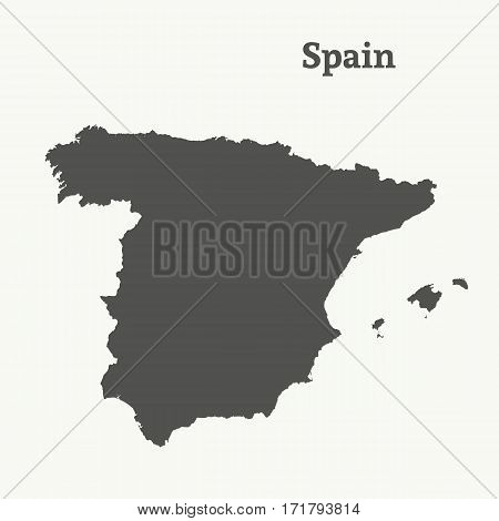 Outline map of Spain. Isolated vector illustration.
