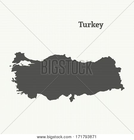 Outline map of Turkey. Isolated vector illustration.