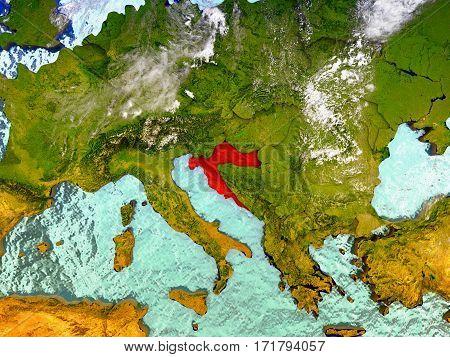 Croatia On Illustrated Globe