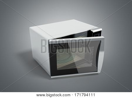 Microwave oven 3d illustration on grey image