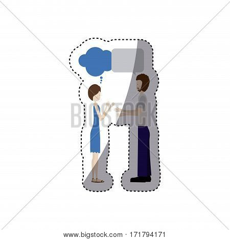 people couple together chat bubble icon, vector illustration