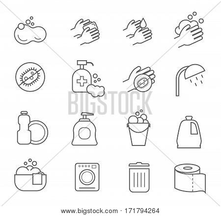 Hygiene line icons. Cleaning and clean vector silhouette signs for bathroom and toilet. Linear set icons personal hygiene and cleaning illustration