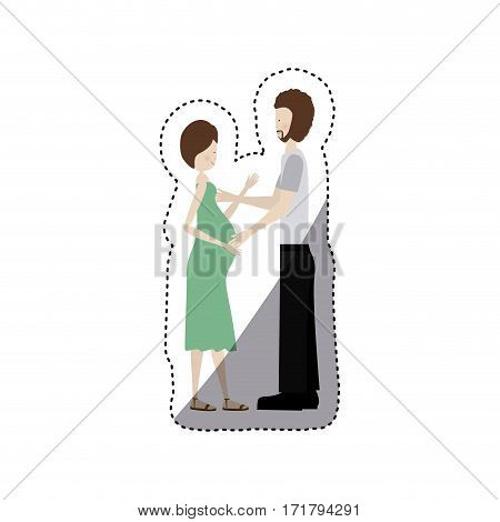 people pregnant woman and her husband icon, vector illustration