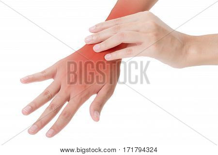 woman holding her beautiful healthy wrist in back side and massaging in pain area with red highlighted Isolated on white background.