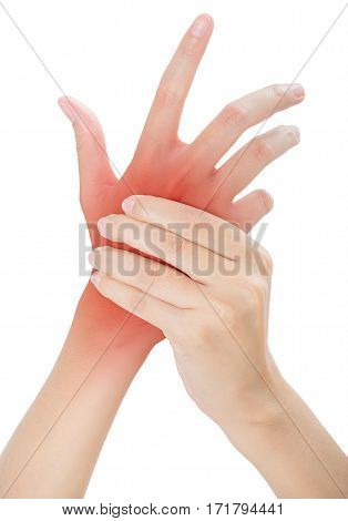 woman holding her beautiful healthy back hand side and massaging in pain area with red highlighted Isolated on white background.