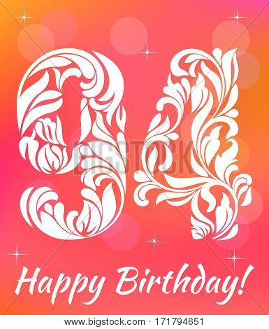 Bright Greeting card Template. Celebrating 94 years birthday. Decorative Font with swirls and floral elements.
