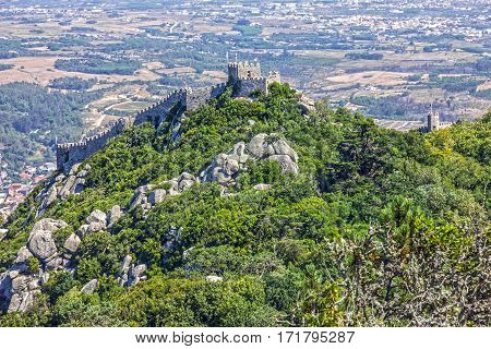 Moors Castle ruins in Sintra, Portugal landscape