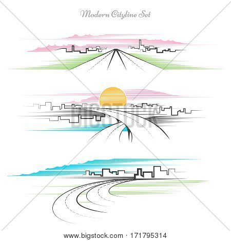 Modern linear cityscape set. Line drawing city and roads urban landscape. Urban landscape with line architecture, drawing building and road illustration
