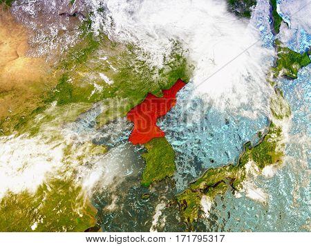 North Korea On Illustrated Globe
