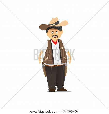 The American Sheriff in a hat. An illustration of the character in a hat and two guns