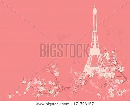 spring Paris vector background - eiffel tower silhouette among sakura flower branches