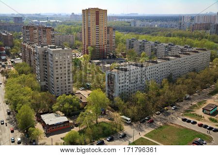 BALASHIKHA/ RUSSIA - APRIL 29. Aerial view of the modern and old residential district in city Balashikha on April 29, 2014 in Moscow region, Russia.