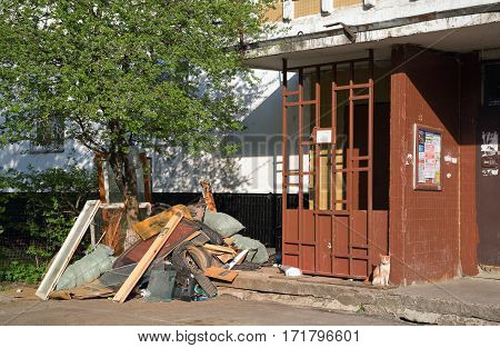 BALASHIKHA/ RUSSIA - MAY 1. Pile of garbage at the entrance of an apartment house on May 1, 2015 in city Balashikha, Moscow region, Russia.