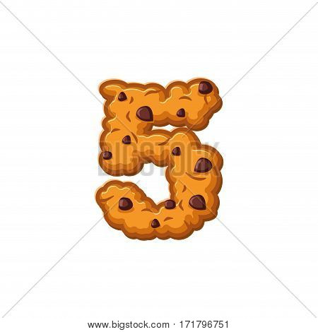 Number 5 Cookies Font. Oatmeal Biscuit Alphabet Symbol Five. Food Sign Abc
