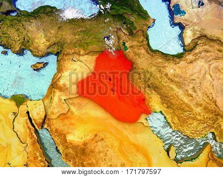 Iraq On Illustrated Globe
