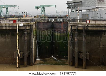 Section of Cardiff Bay barrage including sluice. Seaward side of barage between Queen Alexandra Dock and Penarth Head in Cardiff Wales UK